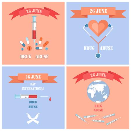 June 26 Drug Abuse Day Set Vector Illustration