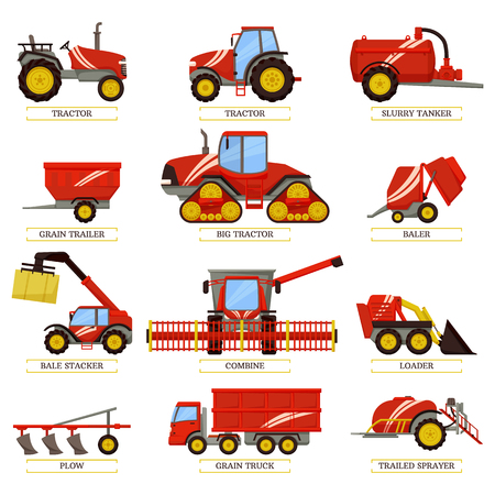 New tractors, slurry tanker, grain trailer or truck, small baler, bale stacker, big combine, compact loader, trailed sprayer and plow vectors agricultural machinery