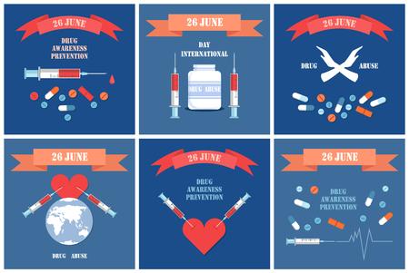 Drugsbewustzijn en preventiedag kleurrijke banners, 26 juni internationaal evenement voor dopemisbruik in de hele wereld, stopsymbool, tablettenset en hartpictogram