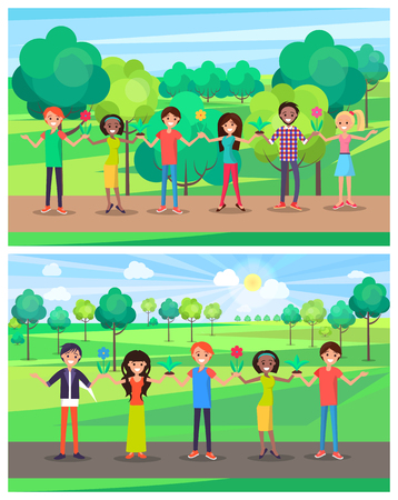 Smiling man and woman with potted plants in hands on background of green trees, vector illustration posters set, protect environment concept, save earth Illusztráció