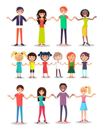 Kinder und Eltern Cartoon-Figuren glückliche multinationale Menschen, die Hände Kinder und Erwachsene zusammen Vektor-Illustration auf weißem Hintergrund halten.