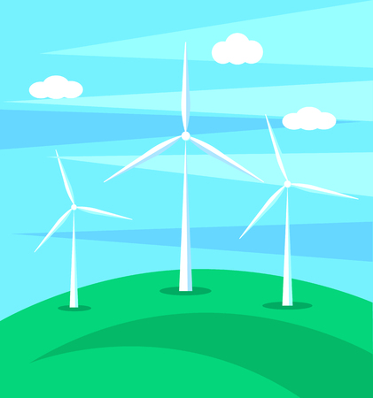 Huge wind mills on green hill on background of blue sky background vector illustration isolated. Eco clean alternative sources of energy Ilustrace