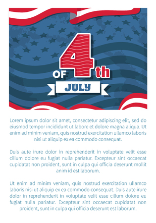 Fourth of July Independence day poster with headline, event in United States symbolizing unity of American nation, vector illustration with text sample 일러스트