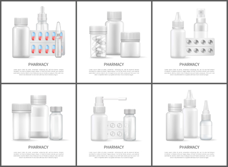 Pharmacy and Medicines Means Bright Vector Posters Stock Vector - 107868293