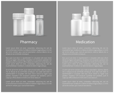 Medication pharmacy poster plastic silver bottles with covers designed for liquids or pills storage, medicinal product containers on grey, text sample Banque d'images - 110259500