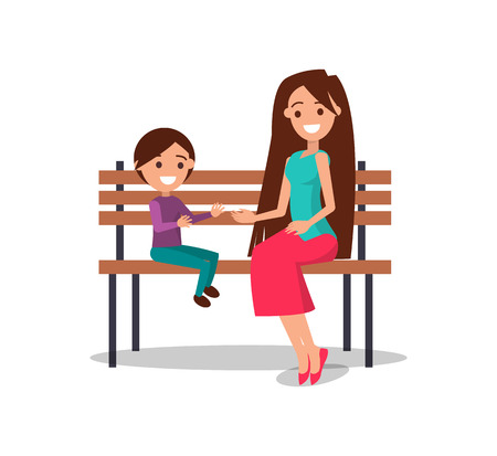 Smilimg mother and son sitting on wooden bench and smiling vector illustration of mom and cheerful boy isolated on white background