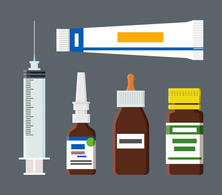 Tube with labels and syringe having sharp needle, drops in glass container, medical production for patients, elements isolated on vector illustration