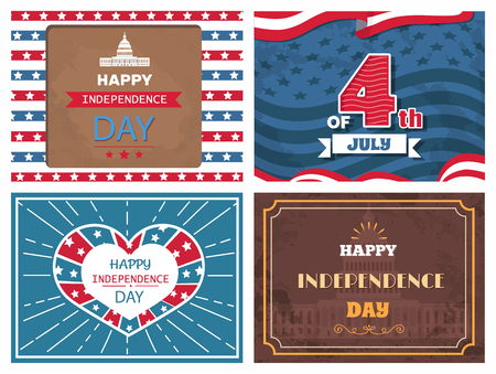 Posters dedicated to Independence day of America, patriotic holiday celebrated on 4th of July vector illustration set of greeting cards with memorials Ilustração