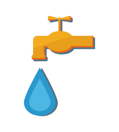 Metal water tap with falling drop vector illustration icon isolated on white. Faucet device by which flow of liquid or gas from a pipe can be controlled