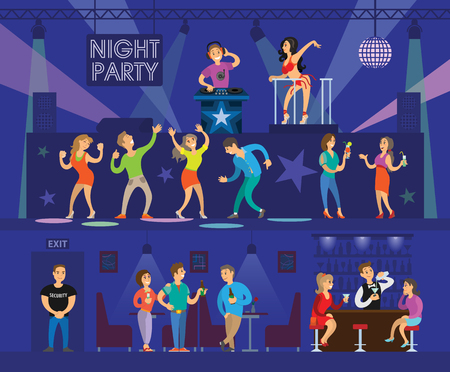 Festa in discoteca con DJ moderno e ballerino go-go. Persone che ballano vicino al palco e bevono alcolici accanto al bar, illustrazioni vettoriali di cartoni animati interni.