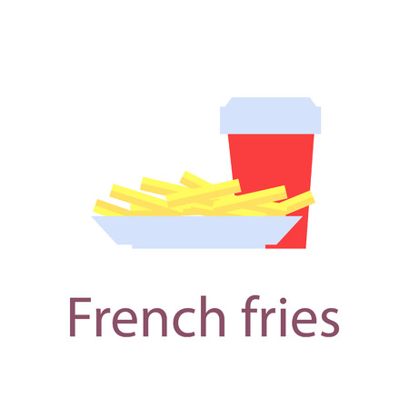 French Fries Poster Closeup Vector Illustration