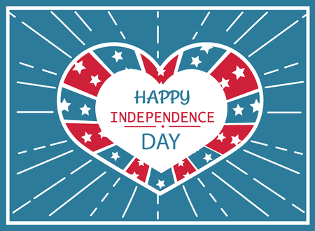 Happy Independence day poster heart shape label in colors of American flag, anniversary holiday celebrated on fourth of July vector greeting banner