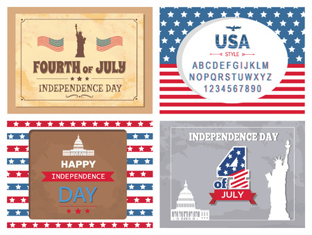 Independence Day 4 of July poster, American Statue of Liberty and Washington capitol. Greeting cards with symbols of USA, font typography sample vector