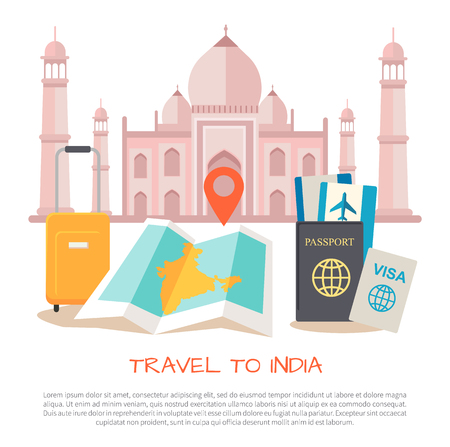 Travel to India Poster Items Vector Illustration