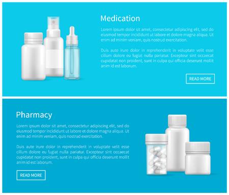 Medication and Pharmacy Set of Web Posters Bottles Çizim