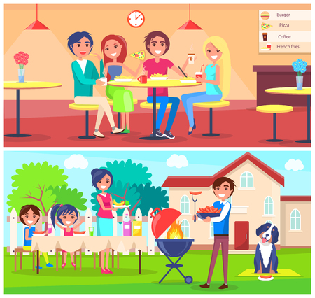 Friends eating pizza in cafe and grilling bbq in garden near house. Vector happy couples having snack in restaurant, people at table indoor and outdoors Stock Illustratie