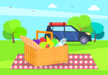 Picnic nature basket full of products, bottle of water, fresh bread, cheese and car, blanket with squared pattern, trees grass vector illustration Foto de archivo - 107798159