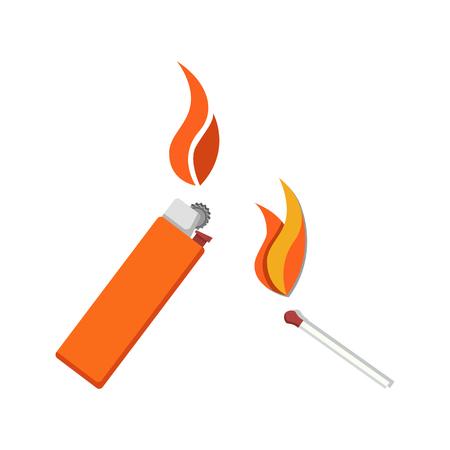 Brûler briquet et match icône vector illustration isolé sur blanc. Outils pour allumer le feu. Petit bâton en bois et allume-cigare en métal ou en plastique