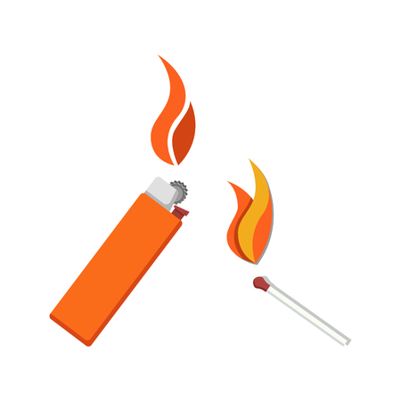 Ilustración de vector de icono de encendedor y fósforo ardiente aislado en blanco. Herramientas para encender fuego. Pequeño palo de madera y encendedor de metal o plástico