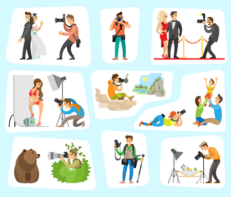 Photographer and clients set, wedding party, family activities, swimming suit worn by woman, landscape nature, man in bushes bear vector illustration
