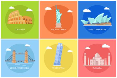 Set di poster di monumenti e attrazioni di fama mondiale Vettoriali