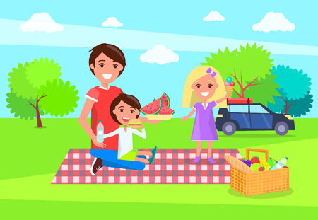 Picnic at nature father holding watermelon slices, and kids sitting on blanket products basket, car standing in shade of trees, Vector Illustration