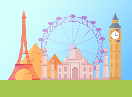 Eiffel Tower and London Eye Vector Illustration