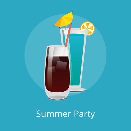 Blue Lagoon and Vodka cola with ice refreshing drinks with straw in elite stemware, popular summer cocktails mix, vector illustration isolated