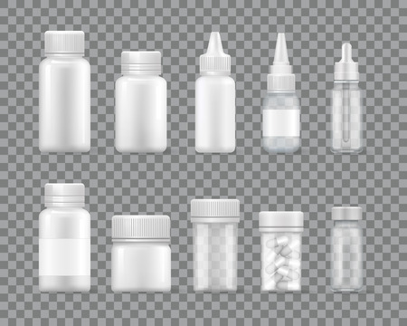 Containers for Liquid Medications and Pills Set Çizim