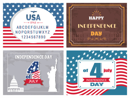 USA independence day posters set national flag and font to write your congratulations, statue of liberty, vector typography elements, greeting card design