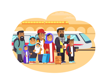 Refugees families with baggage at railway station. Homeless people from Arabic countries look for shelter isolated cartoon flat vector illustration. Vettoriali