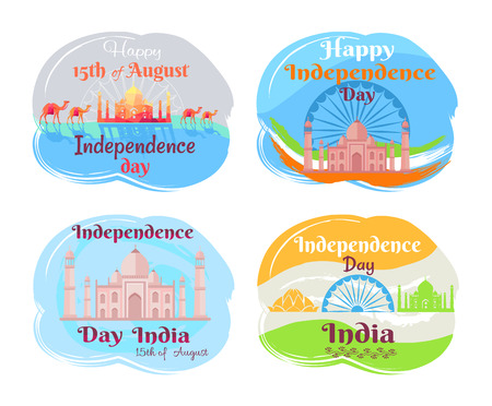 India Independence Day Set Vector Illustration
