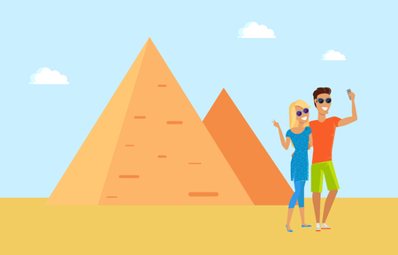 Egyptian Pyramid and Tourists Vector Illustration 일러스트