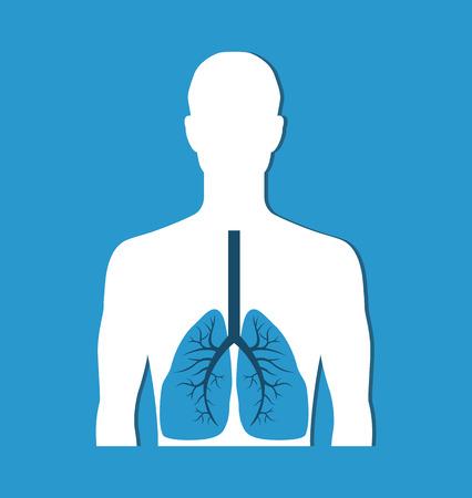 Banner de pulmones humanos aislado en azul. Icono de vector Ilustración de vector