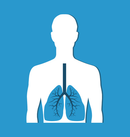 Human Lungs Banner Isolated on Blue. Vector Icon Illustration