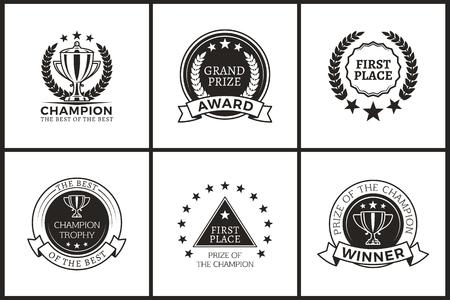 Grand Prize of Champion Monochrome Logotypes Set