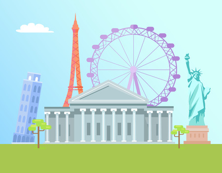 Eiffel Tower and USA Capitol world landmarks set, London Eye with cabins to see city view, Pisa structure, statue of Liberty, vector illustration 矢量图像