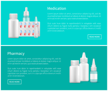 Medication and Pharmacy Web Banners Remedy Set