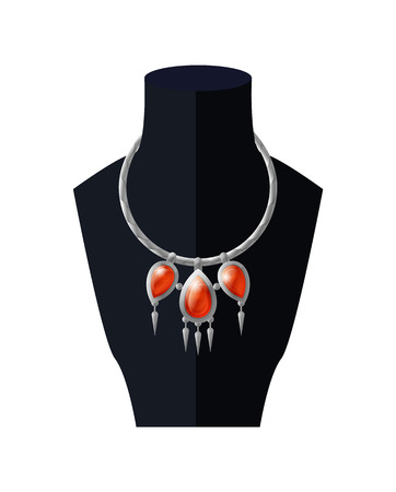 Necklace with Precious Red Stones Black Mannequin