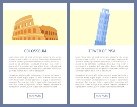 Colosseum and Tower of Pisa as Italian Sights Illustration