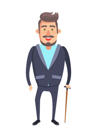 Bearded Senior Man with Stick Vector Illustration Banco de Imagens