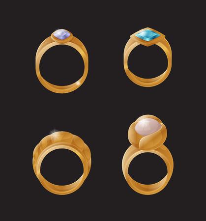 Collection Golden Engagement Rings Precious Stones Stock fotó - 109244847