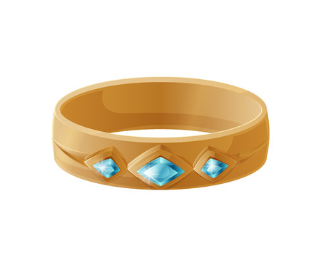 Bracelet with Blue Gemstones Vector Illustration