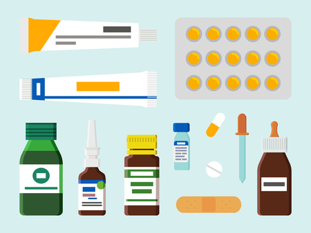 Ointment in Tubes Blister Set Vector Illustration 向量圖像