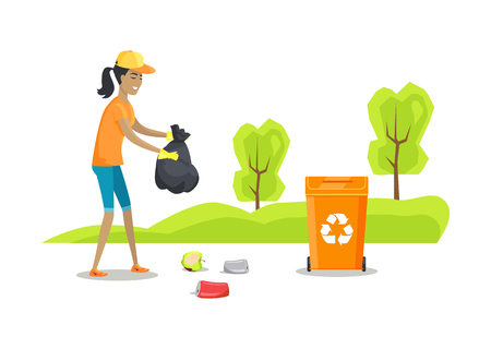 Person caring of nature cleaning park and collecting aluminum cans in bag organic waste rotten apple volunteering woman protection vector illustration