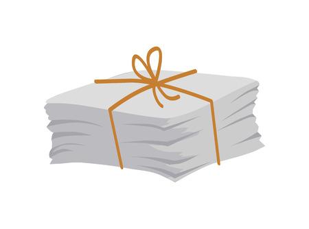 Papierstapel mit Spitze und Schleife oben gebunden, Zeitungsmagazine, Seitenhaufen, Altpapier bereit, recycelt zu werden, Müll lokalisiert auf Vektorillustration