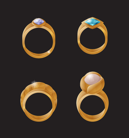 Collection of golden engagement rings with precious stones and pearls vector wedding symbols isolated. Luxury jewelry gold items, stylish accessories