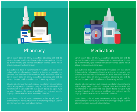 Pharmacy and Medication Set Vector Illustration