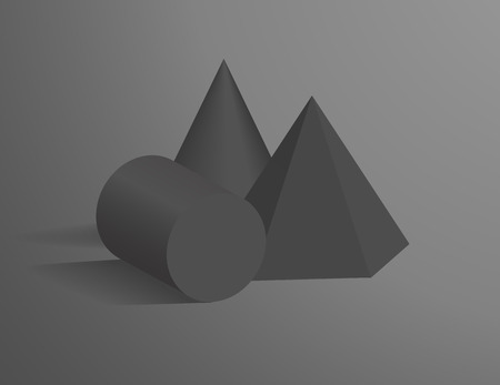 Cone, cylinder and hexagonal pyramid 3D geometric black shapes. Three dimensional figures of dark colors in single composition vector illustration. Illustration