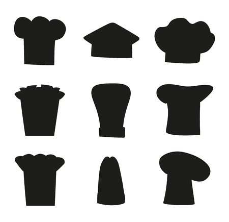 Chef Hats Outline Sketches, Set of Black Chef Hat